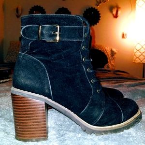 Black Suede Heeled Boots / Booties w/ Gold Buckles